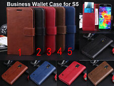 Genuine Leather Business Wallet Case Cover Stand for Samsung Galaxy S5 LTE 4G