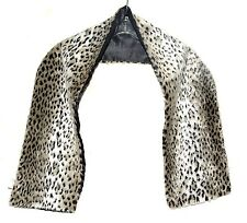 "Faux Leopard Fur Brown Cream & Black Wrap Scarf Black Lining 50"" Long 7.5 Wide"