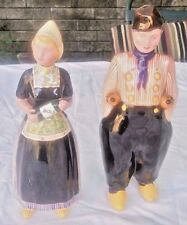 DUTCH GIRL & BOY FIGURAL BOLS LIQUOR BOTTLES DECANTERS.EMPTY