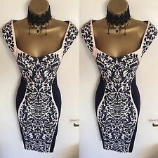 NWT LIPSY Illusion Navy Fitted Weddin Office Cocktail Party Evening Dress Size 8