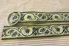 EMBROIDERED COTTON LADIES BELT TAN WITH BLACK & WHITE SCROLL LEAF EMBROIDERY 38""