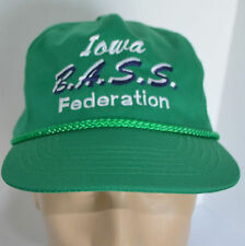 VTG Iowa BASS Federation Hat Mens Green Baseball Ball Cap Lid Anglers Fishing