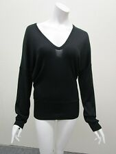 BALENCIAGA KNITS Black Pure Silk Relaxed Fit V-Neck Sweater Size 42