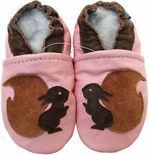 carozoo new soft sole leather baby shoes squirrel pink 3-4t