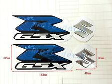 Raised 3D Chrome Suzuki GSXR1000 GSXR750 GSXR600 Emblem Decal Blue Sticker Bling