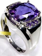 Color-Change Lavender Alexite, Amethyst Men's Ring Size 8 Sterling Silver 6.8 Ct
