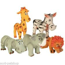 NEW Assortment of 5 Latex Safari Animals Dog Chew Toys 3505