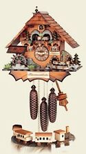HUBERT HERR German Handcarved Wall Clock Cuckoo Clock - Chimney Sweep w/ Train