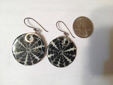 NEW Bali Mother Of Pearl Earrings 30 MM Round - Sterling Silver Settings