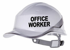 2X OFFICE WORKER  Hard Hat vinyl decal. Sticker transfer CUSTOM COLOUR & FONT