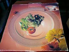 """NIB Laura Glass 12-3/4"""""""" Clear Glass Salad Bowl Dish Pearl Pattern Italy"""