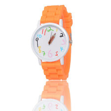 Orange Kids Girls Boys Pencil Style Geneva Wrist Watch Jelly Exquisite Watches