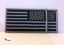 US USA American Flag patch REVERSE SUBDUED BLACK and GRAY ***LOT of 2***