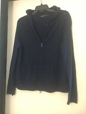 Women's 100% Cashmere Hooded Cardigan Hoodie Sweater Navy Blue Size XL