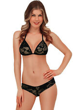 Exotic Lace Triangle Thong Bra Bikini Lingerie Sets Black