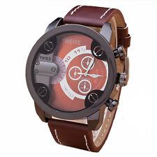 Men Fashion Watches Stainless Steel Leather Band Quartz Analog Sport Wrist