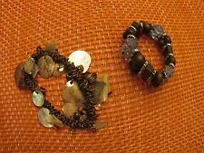 Beachy Copper Shells and Wooden Brown Bead Set of Two Stretch Bracelets