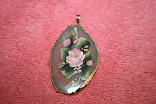 Vintage Hand Painted Flower Pendant sliced Stone Edged with Gold Plate