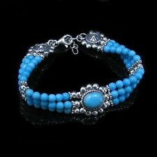 QVC .925 Sterling Silver Natural Blue Kingman Turquoise 3 Strand Bracelet