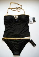 Baby Phat Bikini Bathing Suit Swimwear Black Gold  Bling Size Small