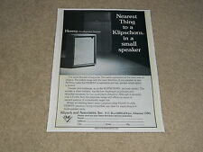 Klipsch Heresy, Klipschorn Speaker Ad, 1974, 1 page, Article
