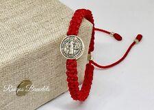 Pulsera Roja De La Medalla De San Benito , St Benedict Medal Bracelet Ajustable