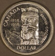 1958 Canada Silver Dollar British Columbia Centen. CH PL **Free U.S. Shipping**