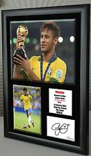 "Neymar Brazil Framed Canvas Tribute Print  Signed   World Cup       ""Great Gift"""