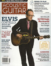 ACOUSTIC GUITAR August 2009 Elvis Costello CCR TAB Lessons Harmonics Fingerstyle