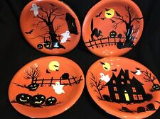SET OF 4 Sakura Haunted Hideaway Appetizer Dessert Plates Halloween