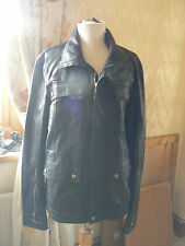 "Mens Black Faux Leather Jacket  36"" Chest by Zara Man"