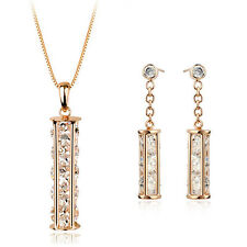 18K ROSE GOLD PLATED & GENUINE CLEAR CUBIC ZIRCONIA  NECKLACE & EARRING SET