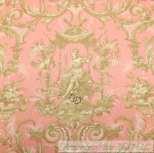 BonEful Fabric FQ Cotton Quilt Pink Brown Tan Victorian Damask Shabby Chic Angel