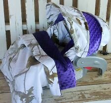snow realtree w/ purple minky infant car seat cover and hood cover w/ blanket