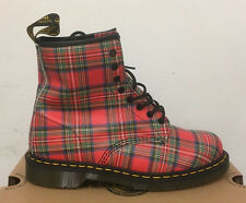 DR. MARTENS 1460  RED STEWART TARTAN  LEATHER  BOOTS SIZE UK 9