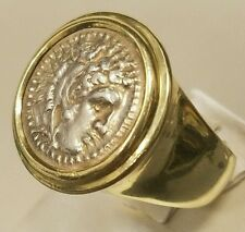 Men's 18K Yellow Gold Greek Coin Ring Alexander the Great Size 7 Retail $2,200