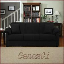 Futon Convertible Couch Sofa Bed BLACK Microfiber Sleeper Living Room Furniture