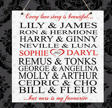 Personalised Harry Potter Couples Engagement Anniversary Wedding Plaque Gift