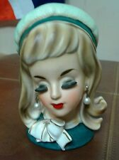 "Vintage Hard to Find 6"" Young Lady Girl Teen Head Vase Kelvin's pearls"