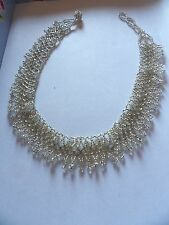 Delicate silver glass bead woven filigree choker collar 541-8
