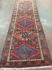Hand Knotted Malayer-Zanjan Persian Geometric Rug  Runner 3x10,3'3''x10'4""
