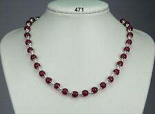 "Pretty rose jade stone necklace, pinky-red 8mm beads, silver balls 18""+2"