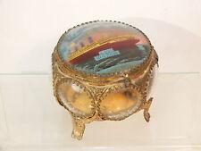 Ancien Coffret à Bijou verre bombé Paquebot Ile de France - Souvenir de Le Havre