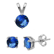 Round Blue Sapphire .925 Sterling Silver Earring & Pendant Jewelry set