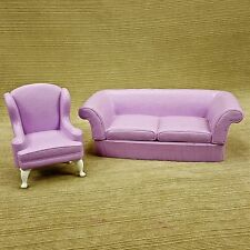 Barbie Mattel 1996 Purple Lilac Sofa Couch & Wing Back Living Room Chair Texture