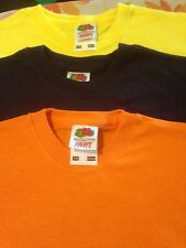 bulk set of 3  t shirts  fruit of the loom 7 - 8 years orange yellow and navy
