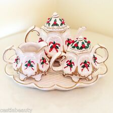 VINTAGE CRACKER BARREL CHRISTMAS CANDY CANE TEA POT SET PEARL PORCELAIN GOLD NEW