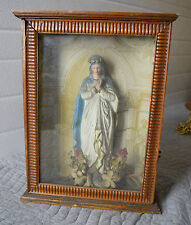 + Older Mary - Holy Mother + Shrine in Wood Box + (CU#513) + Church Statue +