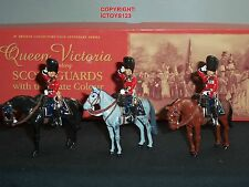 BRITAINS 40208 SCOTS GUARDS SENIOR OFFICERS MOUNTED METAL TOY SOLDIER FIGURE SET