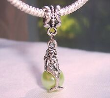 Mermaid Green Pearl Beach Ocean Dangle Bead for Silver European Charm Bracelets